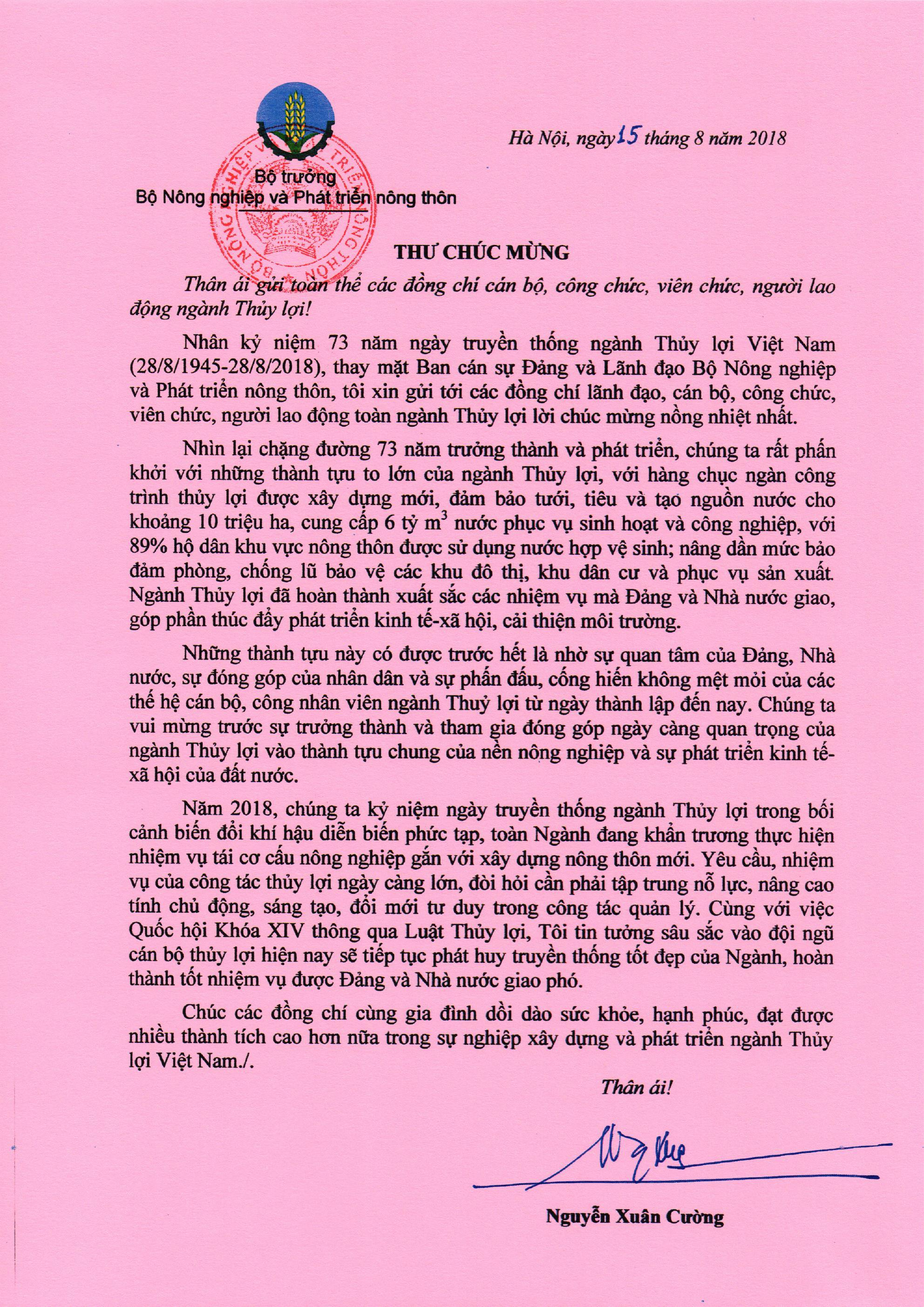 Bộ trưởng Nguyễn Xuân Cường gửi thư chúc mừng kỷ niệm 73 năm ngày truyền thống ngành Thủy lợi Việt Nam
